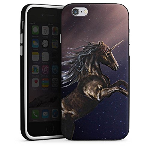 Apple iPhone X Silikon Hülle Case Schutzhülle Einhorn Unicorn Schwarz Pferd Silikon Case schwarz / weiß