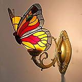 YALANDA Lampada da Parete Stile Tiffany, retrò Dipinto Farfalla Decorazione Camera da Letto luci con Vetro Artigianale, Cafe Bar vestibolo corridoio luci notturne, E27