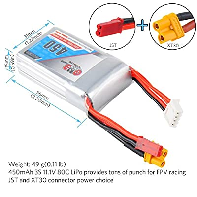 FancyWhoop GNB 450mAh 3S LiPo Battery 80C 11.1V XT30 and JST Connector for FPV Racing Drone