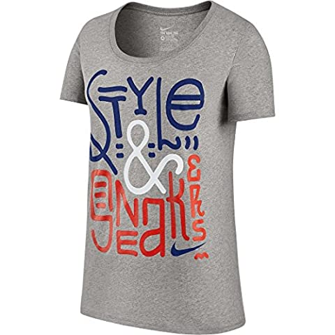 Nike tee-bf Style Sneakers Damen T-Shirt M grau / blau (DK GREY HEATHER/DEEP ROYAL BLUE)