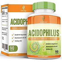 Acidophilus Lactobacillus – 10000 Millones de UFC – Suplemento probiótico para salud digestiva, alto contenido en bacterias buenas. Apto vegetarianos 90 Pastillas (Suministro 3 meses) de Earths Design