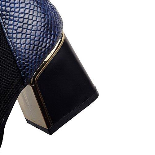 VogueZone009 Femme à Talon Correct Haut Bas Couleur Unie Fermeture D'Orteilr Bottes avec Métal Bleu