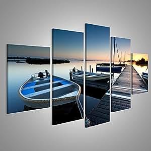 Quadro moderno barche Boardwalk mare Stampa su tela - Quadro x poltrone salotto cucina mobili ufficio casa - fotografica formato XXL
