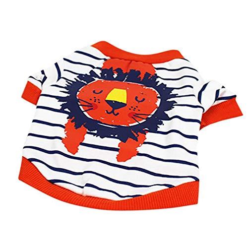 Doublehero Haustier Hund Niedliches Hundekleidung Pet Kleidung Sommer Baumwolle Löwe Gedruckt Kurzarm T-Shirts Kleidung Pet Kleidung Niedlich Hundemantel Welpen Kostüme (XL, Orange)