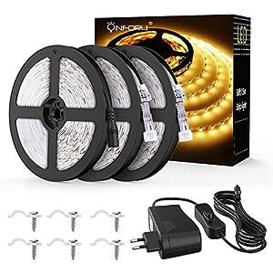 Onforu 15M LED Streifen mit Netzteil, IP65 Wasserdicht LED Strip 450 LEDs Lichtband mit AN/AUS-Schalter, Selbstklebend LED Band, 3000K Warmweiß Innen-und Außenbeleuchtung für Haushalt Küche Deko