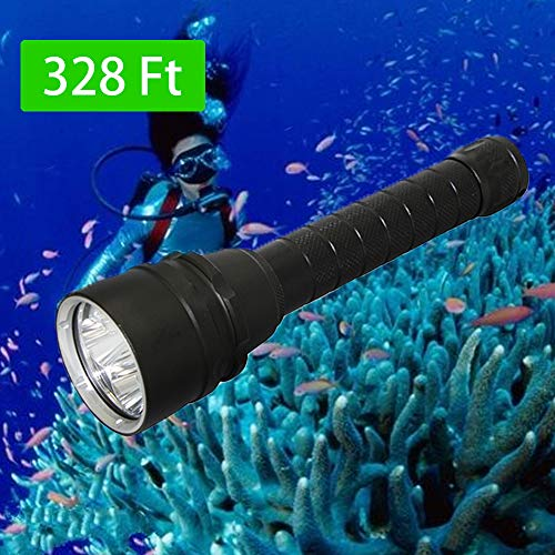 KC Fire Whaitfire LED Scuba Diving Flashlight, Professional Brightest Water Resistant Tactical Flashlights, XM-L2 5000 Lumens LED Torch Outdoors - Torch Only