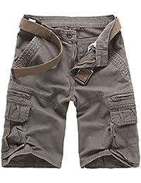 Guiran Hombres Bermuda Cortos Pantalones Vintage Casual Cargo Shorts Pantalones Cortos De Trabajo Café 33 7Xf2dJ