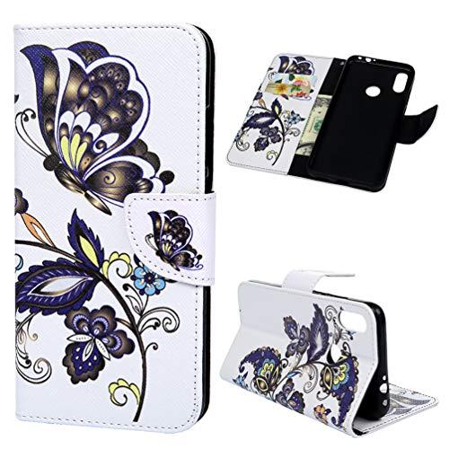 für Xiaomi Redmi Note 7 Hülle Leder Flip Case Tasche Wallet Handyhülle Kunstleder Bookstyle Brieftasche Schutzhülle Handytasche Magnetisch Kartenfach Ständer Etui Farbe Schmetterling