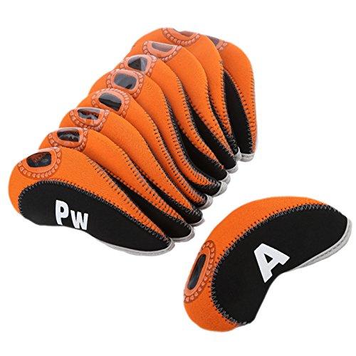 10Pcs/Set Golf Schlägerkopfhüllen für Taylormade Ping Mizuno Titleist Callaway-Schwarz&Orange (Golfschläger Mizuno Eisen)
