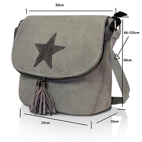 Glamexx24 Borsa a tracolla in stoffa borsa a mano e spalla con una bella stella Grigio