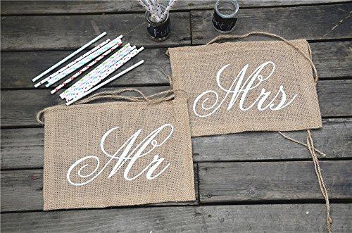KeeKa Vintage Mr & Mrs Jute Flagge Fahne Stuhl Deko für Hochzeit PartyZeremonielle Deko - 3