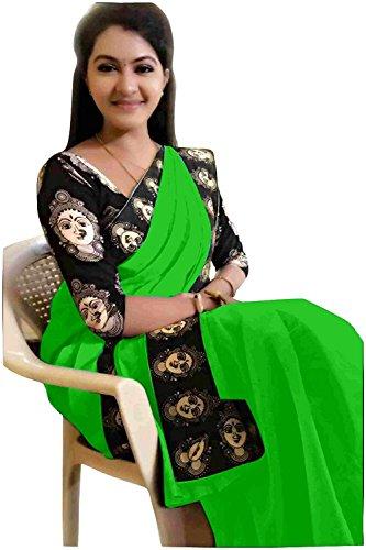 Rajeshwar Fashion Women's Cotton Saree With Blouse Piece (Mataji Border Green_Green)