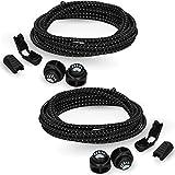 Bearformance Schnürsenkel mit Schnellverschluss Elastische Sportschnürsenkel - Schnellschnürsystem schleifenlos ohne binden (2 x Schwarz)