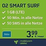 O2 Smart Surf mit 1GB LTE Internet Flat max. 21 MBit/s, 50 Frei-Minuten & 50 SMS in alle deutschen Netze, 24 Monate Laufzeit, monatlich nur 3,99 EUR, Triple-Sim-Karten