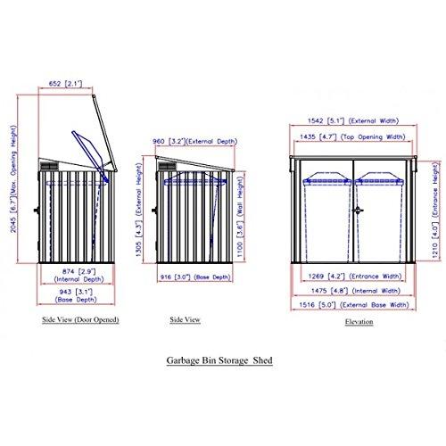 Duramax 5x 3ft Mülleimer Store–Anthrazit Grau/aus weiß - 10