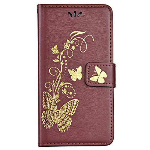 Für Apple iPhone 7, Yokata iPhone 7 Hülle PU Leder Case mit Soft Weich TPU Silikon Gel Backcover Bräunung Gold Schmetterling Muster Design Schutzhülle Cover Backcover Case im Bookstyle mit Standfunkti Rote
