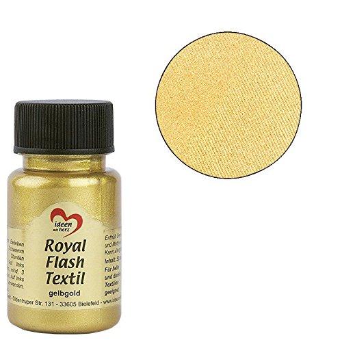 Royal flash textil - colore metallizzato glitterato, 50 ml, altamente coprente, cremoso, per tessuti chiari e scuri, a base d'acqua, per dipingere e valorizzare magliette, borse, tessuti oro giallo