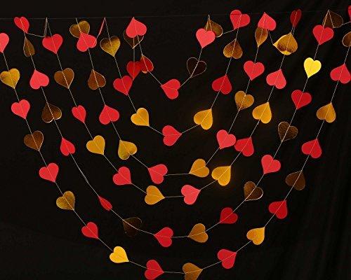 Boston Creative company Hochzeit Dekorationen, Gold & Coral Herz Girlande, Bridal Dusche Dekorationen, Gold Hochzeit, Valentine Decor, Papier Girlande, Hochzeit Decor