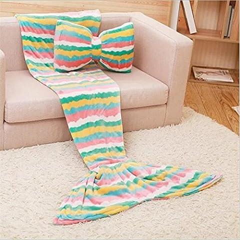 WEISHENMEN Bow cuscino bellezza pesce dimensioni coda coperta coda di pesce aria condizionata divano coperta coperta per il tempo libero coperta: 180 * 85cm BULAIDANZI