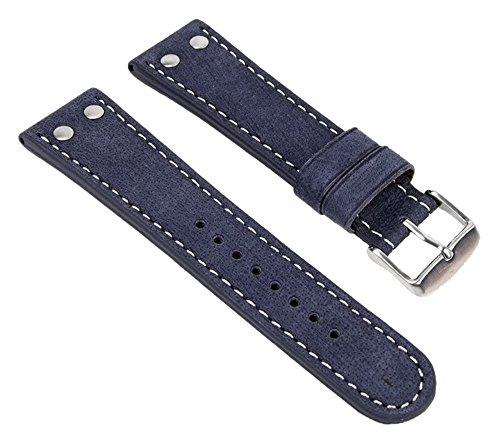 Wasserbüffel Ersatzband Uhrenarmband Leder 20mm Blau 19118S