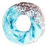 Autiga leichter Damen XXL Schlauchschal Infinity Loop Schal Rundschal Blumen Leoparden-Muster Leo-Print Muster türkis