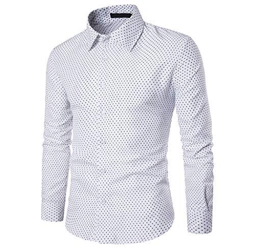 Luckycat Herren Herbst Casual Slim Fit Baumwolle Polka Dot Langarm Shirt Top Bluse Mode 2018