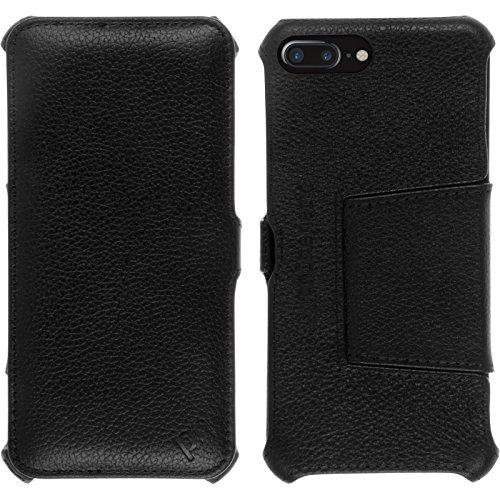 PhoneNatic Echt-Lederhülle für Apple iPhone 7 Plus Leder-Case rot Tasche iPhone 7 Plus Hülle + Glasfolie Schwarz