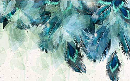 Wemall carta da parati personalizzata murale moderno sfondo personalizzato soggiorno carta da parati piume colorate per parete decorazione domestica, 350x245 cm (137.8 by 96.5 in)