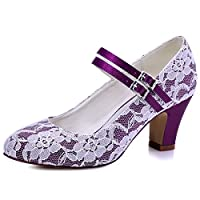 Elegantpark HC1708 Wedding Shoes Women Bridal Shoes Block Heel Buckle Satin Lace Mary Jane Wedding Party Bride Court Shoes