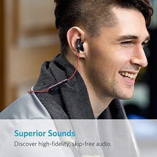 Anker SoundBuds Slim Bluetooth Kopfhörer Kabellos und Magnetverschluss, Wasserfest Sport Headset mit Mikrofon für iPhone, iPad, Samsung, Nexus, HTC und mehr(Rot) - 2