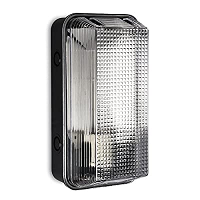 Modern Outdoor Heavy Duty Anti Vandal Plastic Bulkhead Wall Light - IP44 Rated