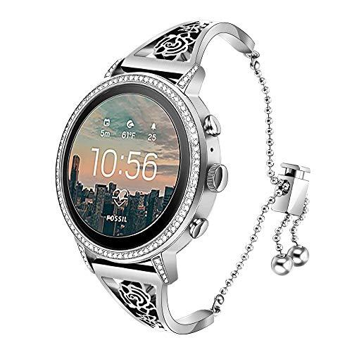 TRUMiRR Compatible Fossil Gen 4 Q Venture HR Bandes de Femmes, 18mm Bracelet de Montre pour Femme Bracelet Manchette Floral Creux Bracelet en métal pour Fossil Gen 3 Q Venture,DW 36mm,LG Watch Style