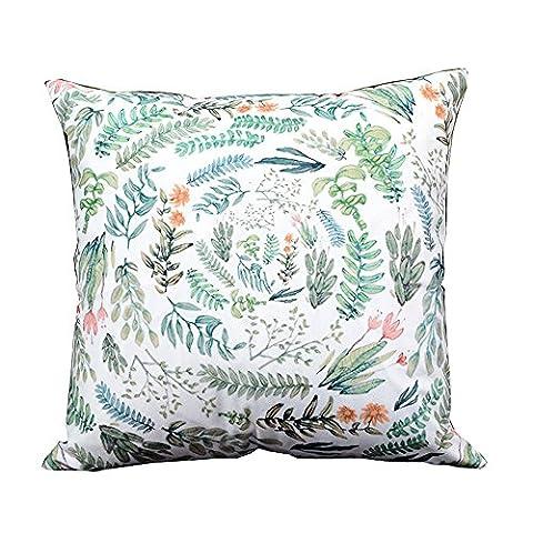 Kalorywee 45x 45cm Tropical plantes Blanc Taie d'oreiller Housse de coussin Housse Canapé Décor Coffee Shop Office Home Chambre à coucher