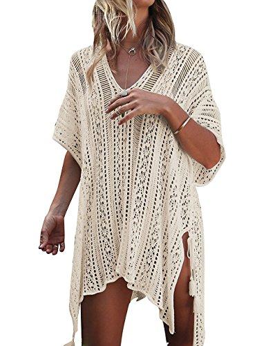 BaiShengGT Damen Gestrickte Strandkleid Strandponcho Strandurlaub Badeanzug Bikini Cover Up (One Size, S01-Beige)