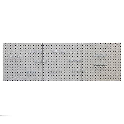 Seville Classics UHD20224 Werkzeug Lochwand mit 46 Haken, Metall pulverbeschichtet, 3-teilig, 182,9 x 60,9 cm, grau - 3