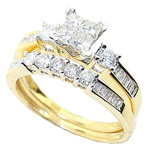 rings-midwestjewellery. COM Damen 10K Gelb Gold Brautschmuck Set 1Karat Prinzessschliff rund und Baguette Diamanten (Gelber Princess-cut Diamant-ring)