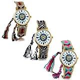 JewelryWe 3PCS Montre Femme Quartz Dessin de Plume Cadran Analogique Bracelet TrIssé Réglable Alliage Multi-couleur