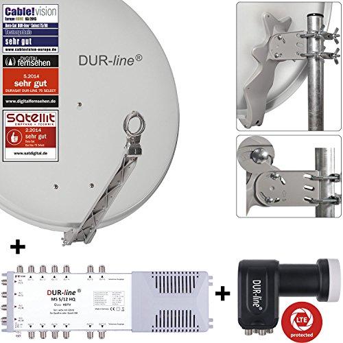 DUR-line 12 Teilnehmer Set - Qualitäts-Alu-Satelliten-Komplettanlage - Select 75/80cm Spiegel/Schüssel Hellgrau + Multischalter + LNB - für 12 Receiver/TV [Neuste Technik, DVB-S2, 4K, 3D]