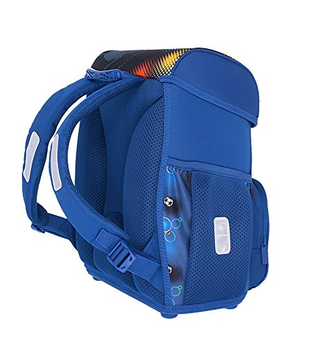 herlitz 50007950 Schulranzen Loop Plus, Klickschloss, ergonomisches Rückenpolster, 16-teiliges Schüleretui, Sportbeutel, Faulenzer rund, Motiv: Soccer, 1 Stück - 9