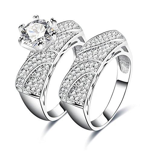 Krone Versprechen Ring Set (Women es Zirkonia Hochzeit Set Ewigkeit Versprechen Ring Blume Wedding Band)