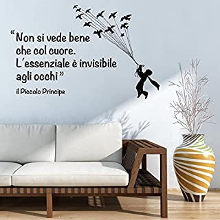 """Adesiviamo® Little Prince """"It Is Only With The Heart That One Can See Rightly"""" Wall Sticker [Text in Italian]"""