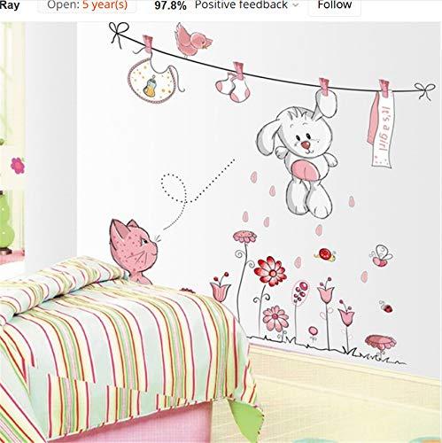 Kyzaa Nette Hang Kleidung Kaninchen Katze Removable Kindergarten Kindergarten Kinder Baby Kind Schlafzimmer Dekor Selbstklebende Wandaufkleber Aufkleber