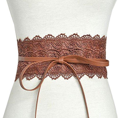 Mode Damen Kleid Zubehör Elastische Stretch Taille Retro Cinch Gürtel Spitze Bowknot Binden Wrap Boho Damen Taille 2018 (Wrap Taille Elastische)