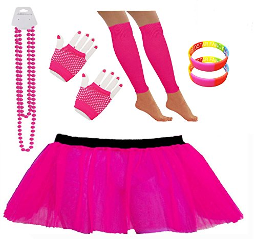 Neon Pink Tutu Skirt Set with Leg Warmers, Short Fishnet Gloves, Necklace Beads and 2 Wrist Bands - Sizes 8 to 22