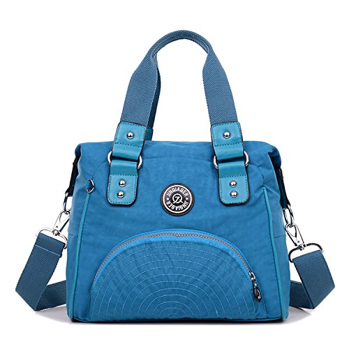 Outreo Handtasche Damen Schultertasche Wasserdichte Messenger Bag Designer Umhängetasche Mädchen Taschen Sporttasche Reisetasche für Kuriertasche Strandtasche Nylon Blau