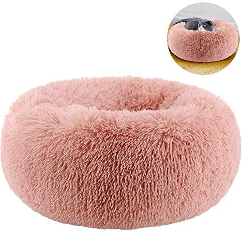 TINTON LIFE Haustierbett aus Kunstfell, für Kleine Hunde, rund, Donut-Design, oval, Plüsch, gemütlich, selbstwärmendes Katzenbett für Besseren Schlaf, M 23.6x23.6x7.1, Rose -