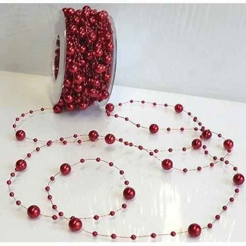 Perla cuerda 15m x 8mm vino rojo collar de perlas perlas cadena Bobina de guirnalda banda decorativa con