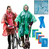 REPELL Disposable Rain Ponchos 5 Pack Adults Lightweight Reusable Waterproof Emergency Raincoat with Tie Hood, Pack of…