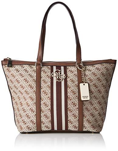 Guess Damen Vintage Tote Schultertasche, Weiß (Brown), 45x29x12.5 Centimeters (Sommer Tote Taschen)