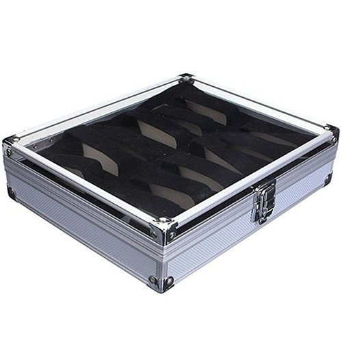 HuhuswwBin Watch Box, Caso di Alluminio della Scatola di immagazzinaggio dell'esposizione del Supporto degli Orologi dei Gioielli delle scanalature di griglia 6/12 Silver 12